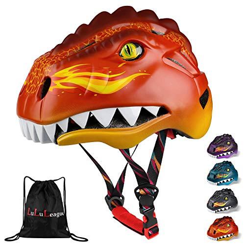 Dinosaur Helmet, Kids Helmet, Helmet Kids with Light,Children Safety Helmet, Childs Skateboard Helmet, Boys BMX Helmet, Bicycle Helmet for age 3 4 5 Kids Children Girls Boys