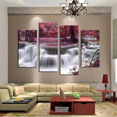 Moaeuro senza cornice decorazione da parete 4pannello set bella cascata pittura di paesaggio fiori moderna immagini su tela opera stampa personalizzata foto