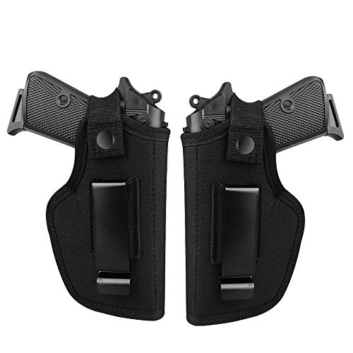 Otooking 2 Pack Concealed Carry Holster, Universal Holster, Inside The Waistband Bundle, Holster for Female/Male Fits S&W, M&P Shield/Glock 23,36,39,42,43/Ruger LC 9, Similar Handguns, Black