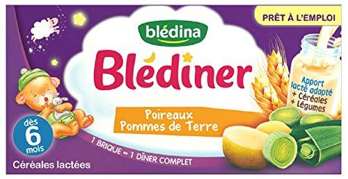Blédina Blédîner 12 briques 250mL Céréales Lactées aux Légumes Poireaux Pommes de Terre dès 6 mois (Pack de 6x2 briques)