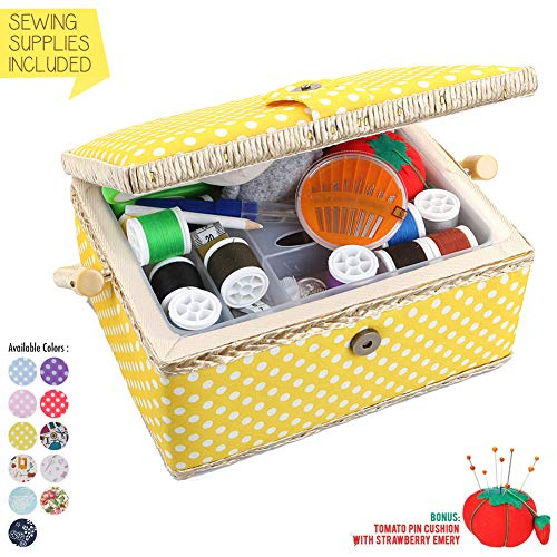 Large Sewing Basket with Accessories Sewing Organizer and Storage with Complete Sewing Kit Tools -...