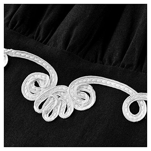 Miusol 50er Retro Rockabilly Kleid Audrey Hepburn Schwingen Bestickt Cocktailkleid Abendkleid Schwarz Gr.S - 4