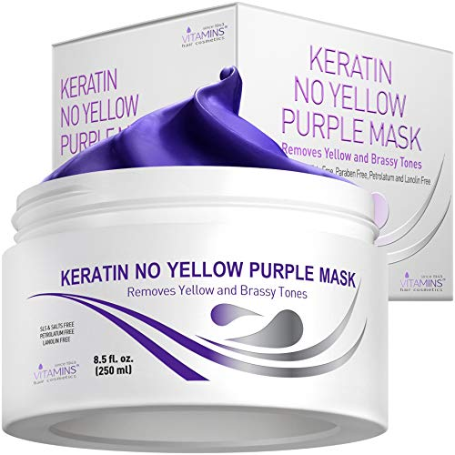 Vitamins Keratin Purple Hair Mask - Violet Blue Protein Deep Conditioner Treatment - Toner for Blonde Platinum Silver Gray Ash or Brown Colored Dry Damaged Brassy Hair