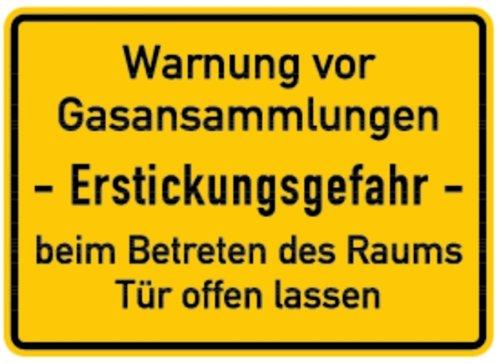 LEMAX® Schild Alu Warnung vor Gasansammlungen Erstickungsgefahr 250x350mm