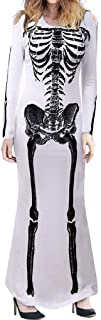 Women's Halloween Cosplay Costume Skeleton Print Small Off Shoulder Long Long Sleeve Jumpsuit Dress