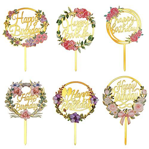 Decoración para Tarta Acrílico Flor Happy Birthday Cake Topper Oro Cupcake Topper de Pastel de Cumpleaños para Niños Hombres Mujeres Fiestas 6 Piezas