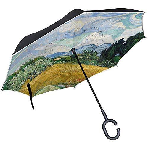 mengmeng Reverse/Inverted Vincent Van Gogh Ölgemälde Doppelschichtiger gerader Regenschirm Selbstständiger und tragender Beutel für freie Hände