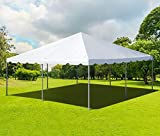 20' x 20' Steel West Coast Frame Style Party Tent - Heavy Duty White 14oz PVC Canopy Top - for Weddings, Graduations, Events and More!