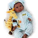 Aori Black Reborn Baby Dolls Lifelike African American Boy Doll 22 Inch with Giraffe Gift Set