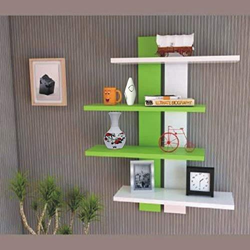DS Shoppee Beautiful Tree Shape Wooden Wall Shelves/Book Shelves/Wall Racks/Rack Shelf for Living Room & Home Decoration (White & Green)