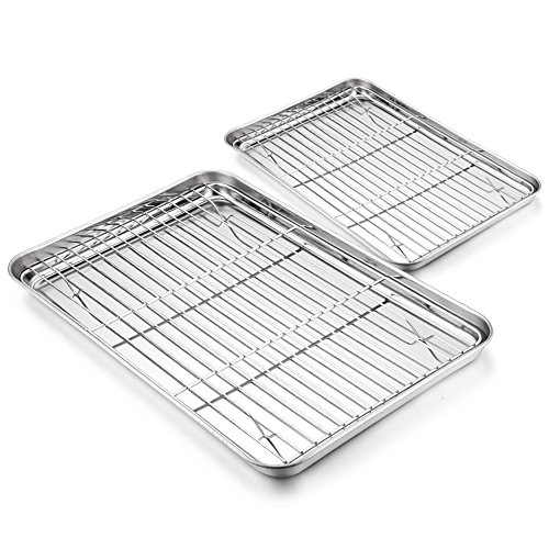 Baking Tray with Rack Set - 4 Pack (2 Trays+2 Racks), HaWare Stainless Steel Baking Sheet Toaster Pan Cookie with Cooling Rack - Healthy & Non Toxic, Mirror Finish & Dishwasher Safe