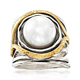 Ross-Simons 11.5-12mm Cultured Pearl Openwork Ring in Sterling Silver and 14kt Yellow Gold. Size 7