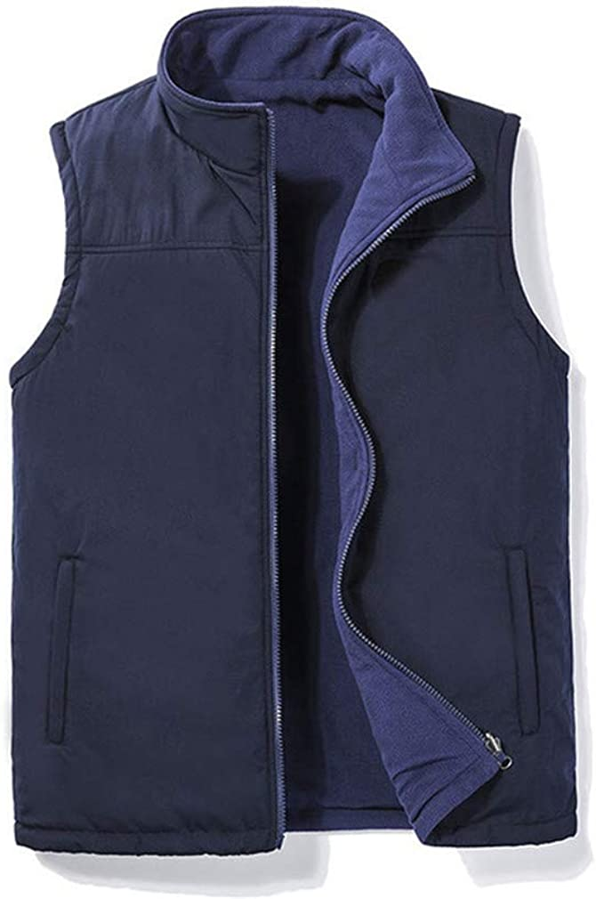 DFLYHLH Casual Autumn Winter Fleece Mens Vest Black Sleeveless Warm Thick Vest Jacket