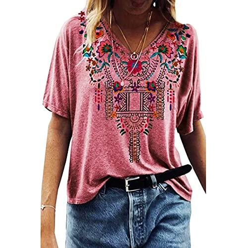 Frühling und Sommer Retro Damenbekleidung Ethnischer Stil Bedrucktes Kurzarm V-Ausschnitt Loses T-Shirt
