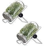 LjzlSxMF Los tarros de albañil del Brote Tarro germinación Kit de Semillas Sprouter Conjunto con la Tapa del Soporte para el Cultivo de brócoli Alfalfa brotes de Haba 1000ml 2 Piezas