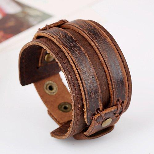 tyrrdtrd Pulsera de moda para hombres y mujeres, estilo punk retro, ancho de piel sintética, pulsera de pulsera, regalo de joyería marrón