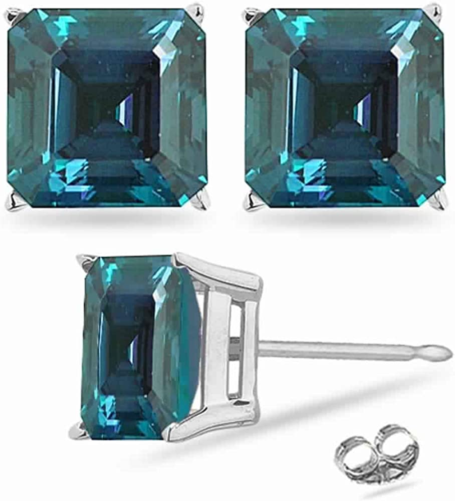 Lab Inexpensive Created SEAL limited product Asscher Cut Russian in 14K Stud Alexandrite Earrings