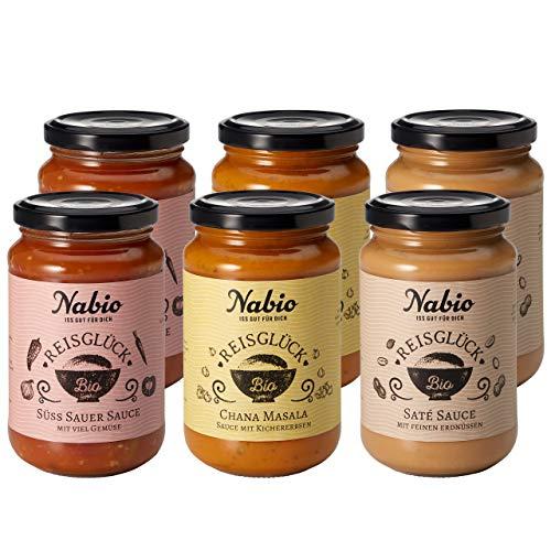 "Nabio Bio Reissaucen ""Reisglück Selection"" 3 Sorten - 2x Saté Sauce, 2x Süß Sauer Sauce, 2x Chana Masala Sauce, vegan, Bio Fertiggericht im Glas, 6 Stück (6x 325ml)"