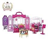 Barbie CHF54 - Glam Ferienhaus, portables Puppenhaus mit 3 Zimmer, 20+ Zubehörteile, ca. 76 cm...