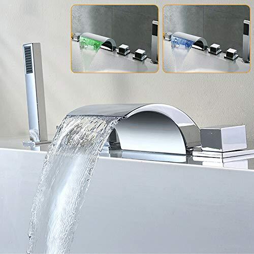 LED modernes Design Badewanne Wasserhahn Wasserfall Typ Waschbecken mit Handbrause Wasserhahn 5-Loch-Wasserhahn