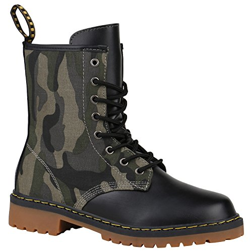 Geschnürte Damen Worker Boots Profilsohle Punker Stiefeletten Schuhe 150299 Camouflage Schnürung...