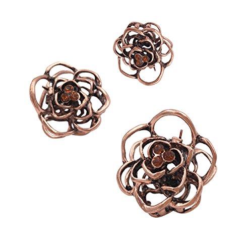 3STK Vintage Rose Mini Kleine Metall Haarklammer Spange Mädchen für Damen Frauen