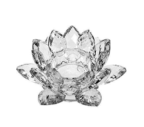 Amlong Crystal Clear Crystal Lotus Tealight Candle Holder 4.5 inch in Gift Box