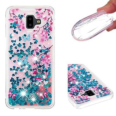 Lotuslnn Samsung Galaxy J6 Plus Case,Glitter Liquid Quicksand Flow Luxury Fashion Clear Transparent TPU Gel Silicone Shockproof Cover for Samsung Galaxy J6 Plus
