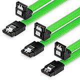 deleyCON 3x 50cm SATA 3 Nylon Cavi Set Cavo Dati 6 Gbit/s Cavo di Collegamento Cavo di Attacco Scheda Madre HDD SSD Disco Rigido 1 Spina S-ATA a 90° Verde