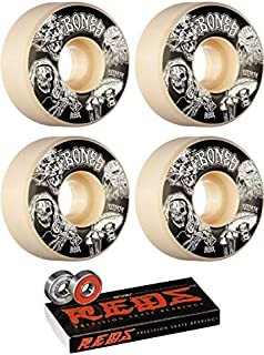 Bones Wheels 53mm STF Night Watch Easy Streets V1 White Skateboard Wheels - 99a with Bones Bearings - 8mm Bones Reds Precision Skate Rated Skateboard Bearings (8) Pack - Bundle of 2 Items