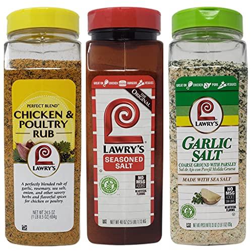 Lawrys Seasoning Variety Pack - Gluten Free Seasoned Salt (40 oz), Gluten Free Garlic Salt (33 oz), and Chicken and Poultry Rub (24.5 oz) - 101.5 oz Total