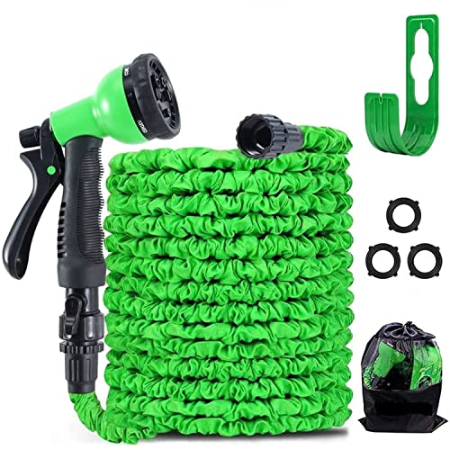 100FT Garden Hose Reel Expandable 3 Times TPE Super-Strength High Pressure Flexible Water Hose,8-Function High-Pressure Spray Nozzle with 3/4' Solid Fittings Comes with Free Hose Holder