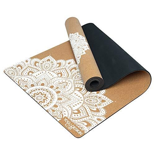 Yoga Design Lab | La Esterilla de Yoga de Corcho | Eco Ideal para Hot Yoga, Bikram, Ashtanga, Entrenamientos con Sudor | Calidad de Estudio | ¡Incluye Correa de Transporte! (Mandala White, 3.5mm)