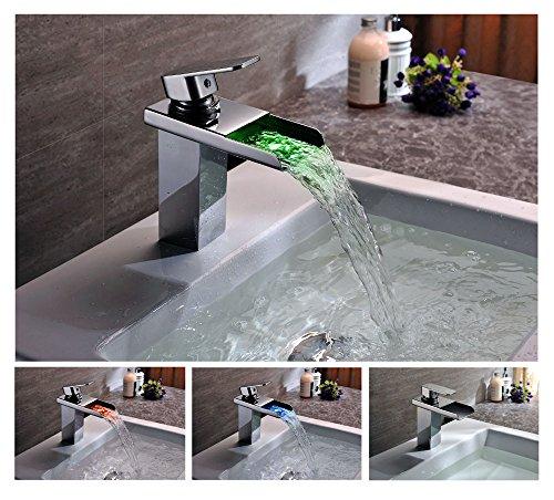 KINSE® Farbwechsel LED Verchromt Einhebelmischer Waschtischarmatur mit Temperatursensor Wasserhahn für Bad - 6