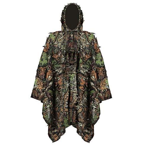 OMMO LEBEINDR Ghillie Suit Stealth Sniper Set 3D-Camouflage Cape Umhang Dschungel für Outdoor Weihnachtsdekoration Jagdbekleidung