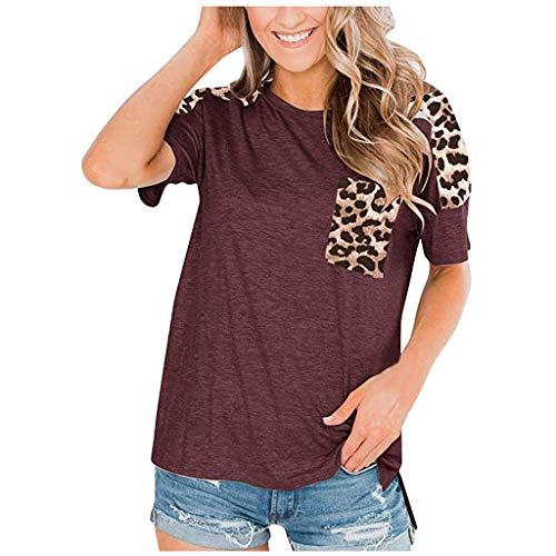 Auifor vrouwen luipaardpatroon korte mouwen twist knot patchwork O-hals casual tuniek tops, halve mouw tank top T-shirt luipaard tas T-shirt tops