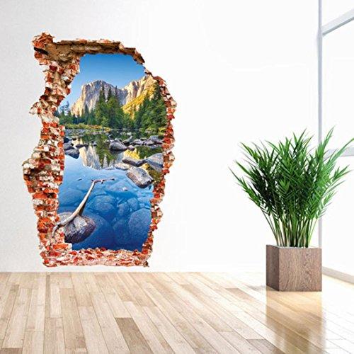 wandaufkleber wandtattoos Ronamick 3D Boden / Wandaufkleber Removable Decals Vinyl Art Wohnzimmer Dekore Wandtattoo Wandaufkleber Sticker Wanddeko (28)