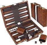 18' Faux Leather Vinyl Backgammon Set; Favorite Backgammon Board Game; Best in Classic Board Games