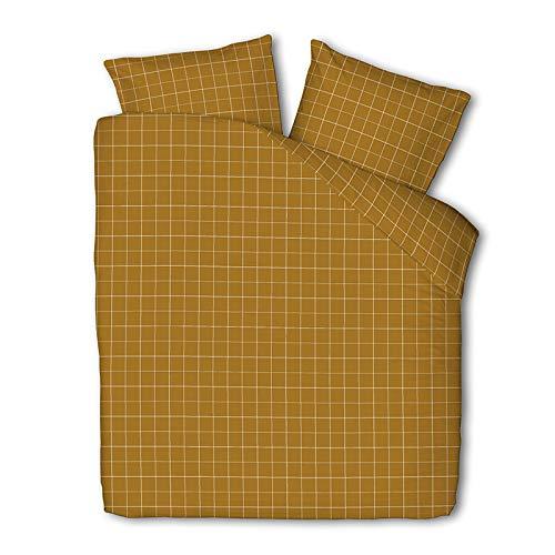 Dekbedovertrek Squared - Okergeel - Tweepersoons 200x220 CM - Percal Katoen/Microvezel, Fresh & Co - Incl. 2 Kussenslopen van 60x70 CM