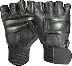 VELLORA Full Leather Gym Gloves Half Fingers Gym Gloves Fitness Training Gym Gloves/Functional Hand Protector (Free Size)