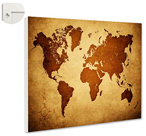 b-wie-bilder Magnettafel Pinnwand Magnetwand Weltkarte Landkarte Antik Farbe Color, Größe 80 x 60...