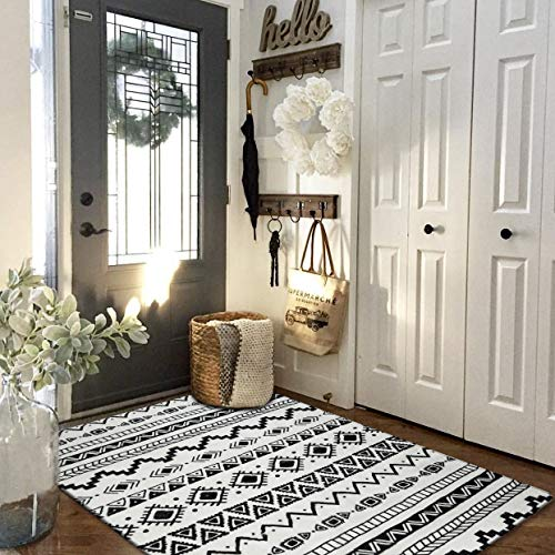 Lahome Bohemian Geometric Area Rug - 3' X 5' Faux Wool Non-Slip Area Rug Accent Distressed Throw Rugs Floor Carpet for Living Room Bedrooms Laundry Room Decor (3' X 5', Black & Off-White)