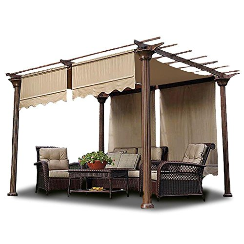 2pcs 15.5x4 Ft Pergola Shade Canopy Replacement Waterproof Polyester Cover Tan w/ Structure Valance Scalloped Edge for Outdoor Canopies Patio Lawn Yard Garden