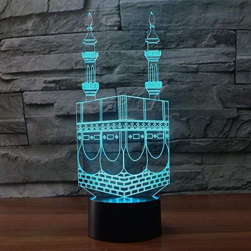 3D Moskee islamitisch nachtlampje illusie nachtlampje 7 kleurwisselingen touch-schakelaar tafel tafeldecoratie lamp perfect geschenk met acryl vlakke ABS-basis USB-kabel speelgoed