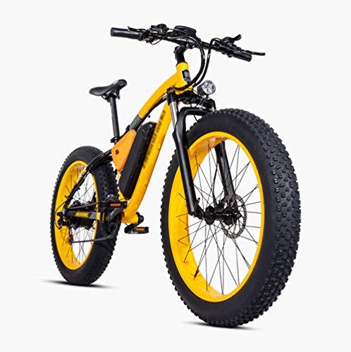 PHASFBJ FT26 Elektrofahrrad Fatbike E-Bike Pedelec, Elektrofahrrad Mountainbike mit 500W Kettenschaltung Shimano 21 Gang Elektrisches Fahrrad Citybike für Erwachsene,Gelb
