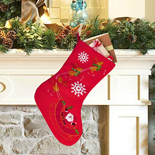 Christmas Stockings, Santa Snowman Reindeer Xmas Stockings Decoration and Party Accessory Lovely Embroidery Pattern for Family Decorations Hanging Ornament for Xmas Holiday Party