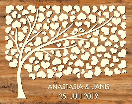 Manschin Laserdesign Personalisiertes 3D Gästebuch aus echtem Holz mit 124 Herzen - Baum - Gästebuch Alternative - (Hintergrundfarbe Nussbaum Hell, 75 x 60 cm)