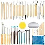 GuKKK Herramientas de Arcilla, 46 Piezas Herramientas de Modelado de Arcilla Set, Herramientas de Punteo, Ball Stylus Dotting Tools, Herramientas de Sangría de Cerámica, para DIY Arte Cerámica