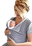 Baby Wrap Sling | Natural Cotton | Grey | Nursing Cover and Fashion Baby Carrier in One | Best Baby Shower Gift | Free Instructional eBook | 100% No Risk!