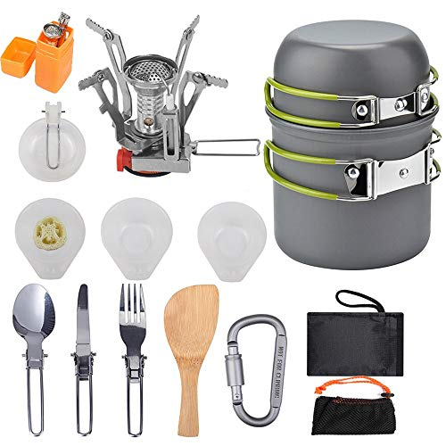 16 Pcs Camping Cookware Stove Carabiner Folding Spork Set Outdoor Camping Hiking Backpacking Non-Stick Cooking Picnic Knife Spoon Kit